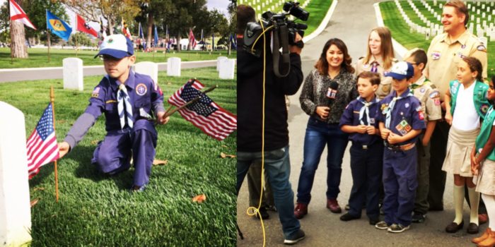 Flag Placing Boy Scouts